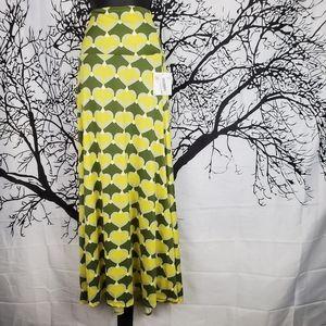 LuLaRoe Maxi Skirt Olive Green & Neon Yellow Heart